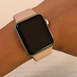 Apple iWatch with multiple bands.
