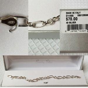925 Sterling Silver Italy Figaro Chain Bracelet