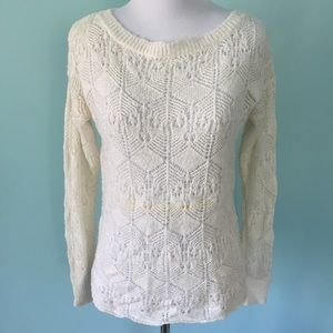 Ivory Knit Sweater with Beautiful Button Back