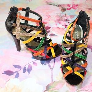 Qupid Colorful Faux Animal Skin Caged Heels Sz 7.5
