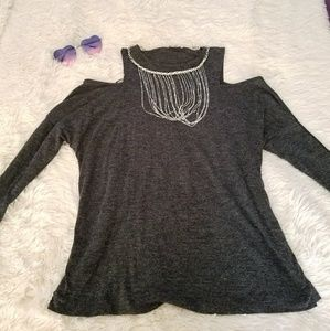 Zara Grey Cold Shoulder Blouse with Sleeves
