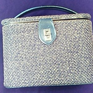 Vintage tweed traincase handbag