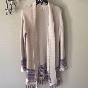 ⚜️ROXY⚜️Long Fringe Knit/ crochet Sweater⚜️Size XL