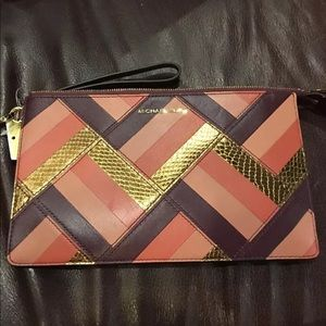NEW Michael Kors Marquertry  Leather Clutch