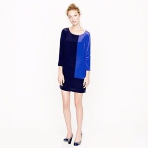 J CREW JULES Shift dress in Colorblock Navy Blue 8