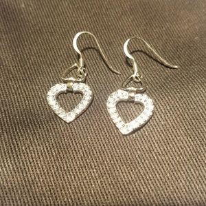 Open heart silver tone cz earrings