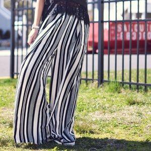 Pants - Stripped Wide Leg Pants