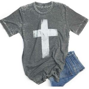 Gray Tshirt with white painted cross, soft!