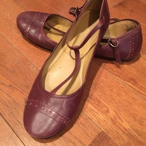 Merlot leather Mary Jane flats