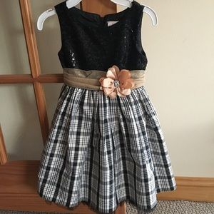 Girls Sequin & Plaid Holiday Dress