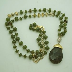 Chico's Green Gold Beaded Pendant Necklace