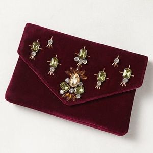 NWT! Anthropologie Shiraleah Velvet Jeweled Clutch