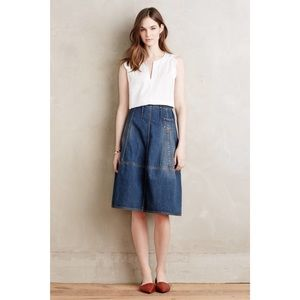 Anthropologie Pieced Denim Pocket Skirt