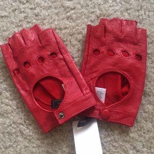 BCBGMaxAzria leather mittens fingerless gloves red
