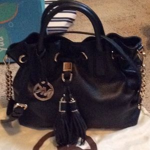 Black Leather with Gold Accents Michael Kors purse