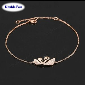 Silver double swans bracelet