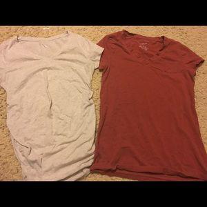 Two Xs Liz Lange short sleeve Maternity shirts