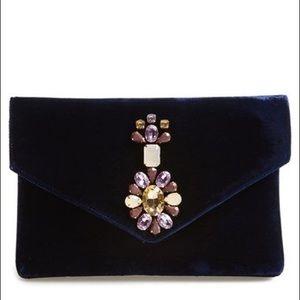 NEW! Anthropologie Shiraleah Velvet Jeweled Clutch