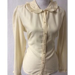 Cream Ruffle Vintage Top Size 14
