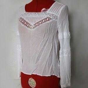 White gauze top, white hippie boho top