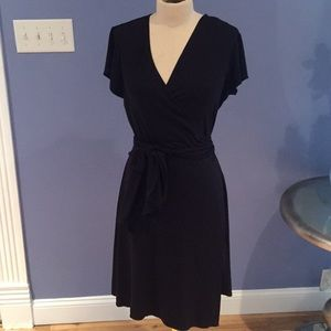 Black Wrap Dress 3/4 Length Short Sleeve Size L
