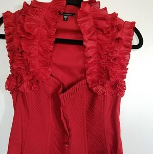 Bebe red ruffle sleeve top