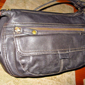 Black Fossil Shoulder Bag Soft Leather ZB8943