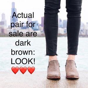 FRYE Sacha Moto ankle boot bootie 8 dk brown suede