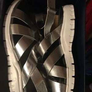 COLE HAAN silver sandals NEVER WORN