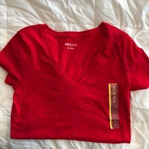 NEW Red V Neck Short Sleeve Shirt
