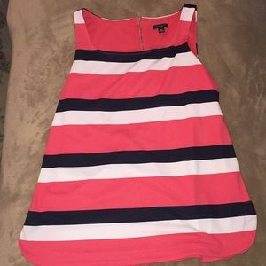 Striped Ann Taylor tank top- pink black and white