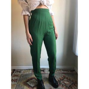 [vintage] ultra high waist green stirrup pants