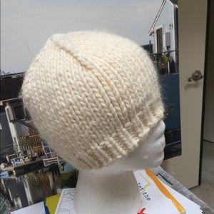 Bone white wool knit  cute beanie