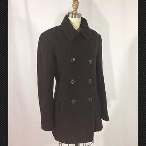 Calvin Klein Deep Brown Wool Buttondown Coat 8