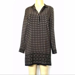 VINCE Silk Shift Dress Black Beige Grid Tunic 4 S