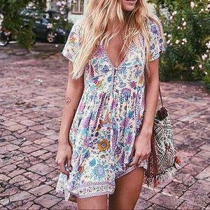 Dresses & Skirts - Tropical Boho Floral V Neck Babydoll Dress, S-L