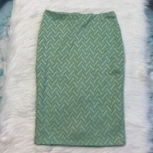 H&M Mint Gold Shimmer Stretchy Pencil Skirt XS/S