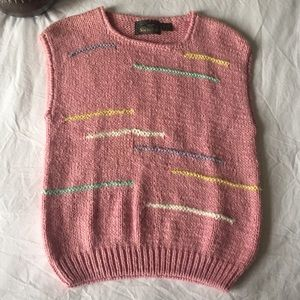 Vintage Hand Knitted Pink Sleeveless Sweater Large