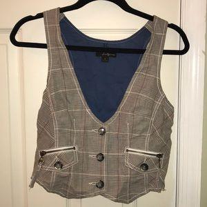 Gray plaid vest with zipper pockets