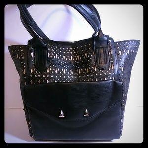 Stella & Dot The Shift Black Perf 2 in 1 Handbag