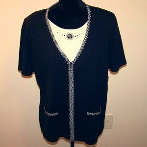 Alfred Dunner Black/White Sweater - Size XL - NWT