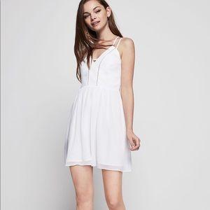 White Strappy V Neck Dress