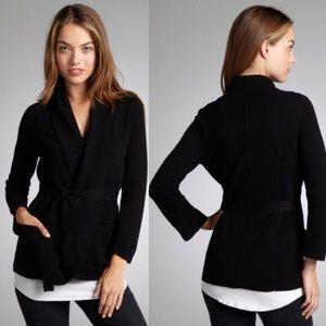 BCBG MAXAZRIA Black Wool Nel Shawl Belted Cardigan