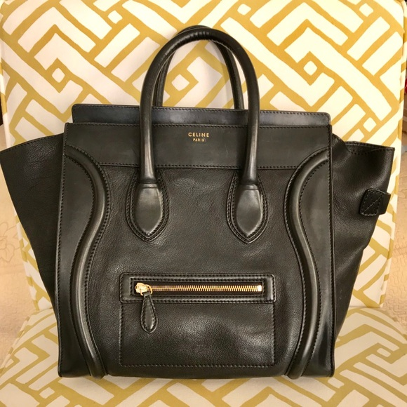 f71cf734f Celine Handbags - CELINE Smooth Calfskin Mini Luggage Black