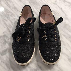 Keds for Kate Spade Black Glitter Shoes