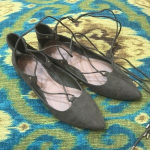 Faux suede olive flats with lace up ties Old Navy