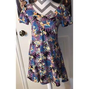 Tropical Pattern Skater Style Mini Dress