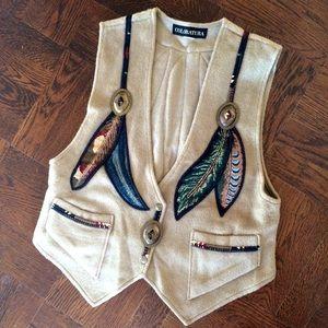 Wool & Mohair Western Vest w/ Brass & Feathers