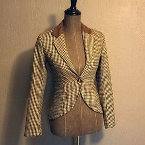 HM Houndstooth Elbow Patch Blazer Size 2
