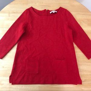 LOFT S red  knit sweater double pocket